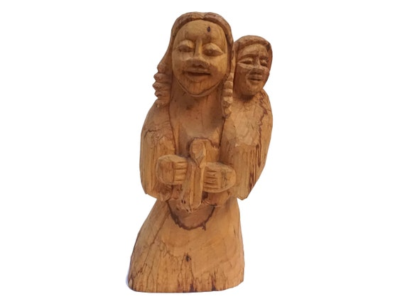 Mother and Child Wood Sculpture, Vintage South American Hand Carved Wooden Folk Art Statue,