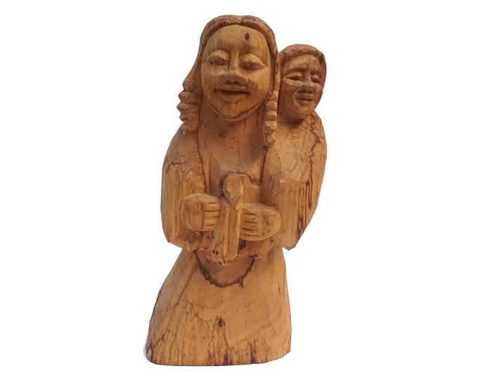 Mother and Child Wood Sculpture, South American Hand Carved Wooden Primitive Folk Art Statue