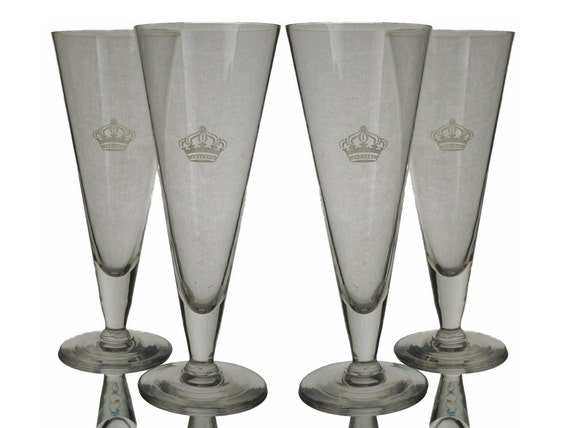 French Crown Crystal Champagne Flutes Set of 4