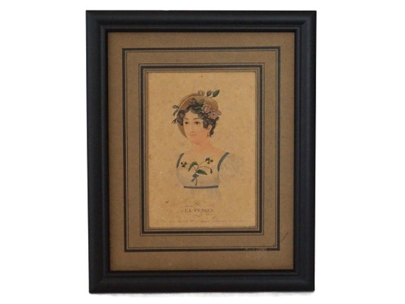 Antique French Woman Portrait Engraving with Pansy Flowers, Framed Art Print La Pensée