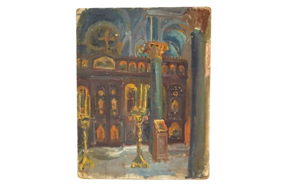 French Church Painting, Original Signed Art of Cathedral