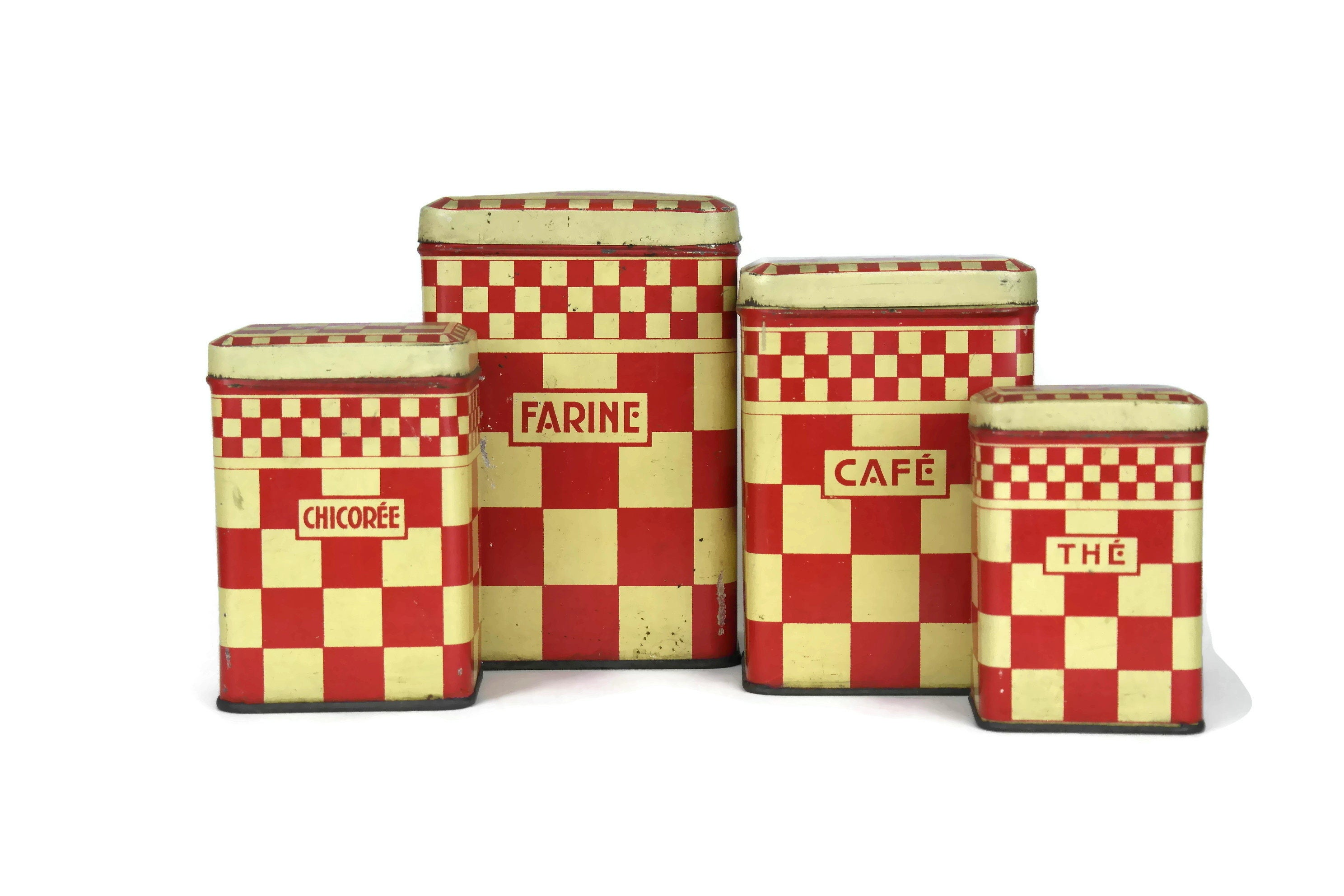 French Vintage Red Kitchen Canisters. Set of 4 Red ...