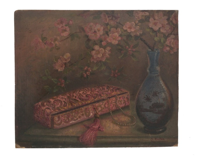 Art Deco Cherry Blossom, Vase and Jewelry Box Painting, French Still Life Painting