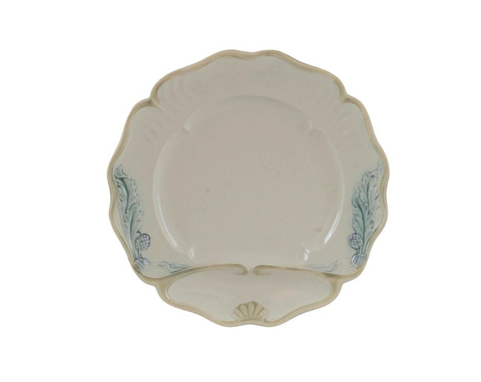 Antique Majolica Artichoke & Asparagus Plate by Fives Lille,  French Ceramic Wall Plate and Country Kitchen Decor