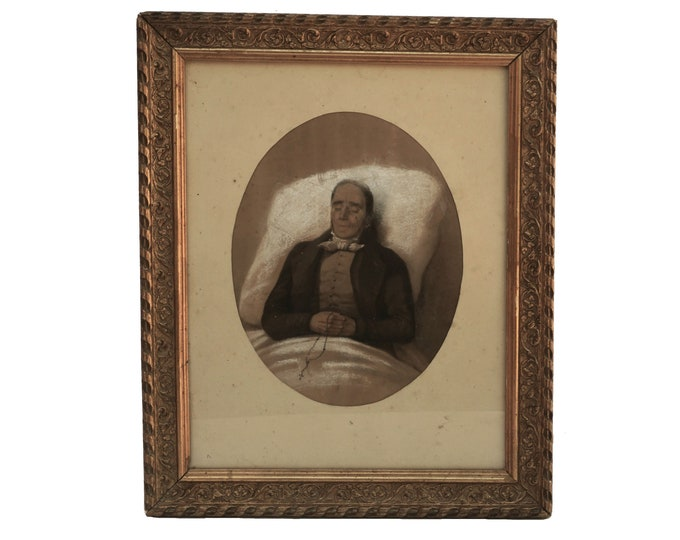Antique Dead Man Portrait Drawing, French Memento Mori  Mourning Art