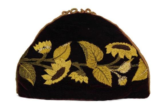 Victorian Needlework Tea Cozy. Antique Hand Embroidered Velvet Teapot Cosy Cover. Sunflower Fall Decor.