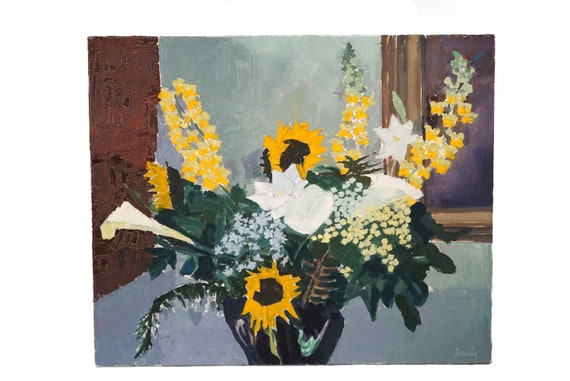 French Sunflowers Still Life Painting by Robert Devourdy, Modernist Floral Bouquet Art