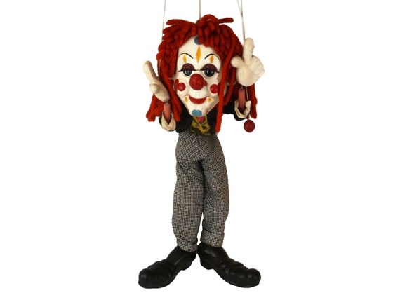 Giant Pelham Bimbo Clown Puppet, 1960s Large String Marionette, Toy Shop Window Display