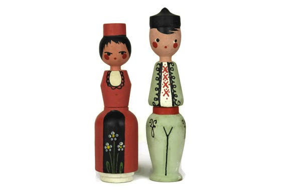 Bulgarian Souvenir Dolls. Pair of Folk Art Wooden Figurines with Miniature Perfume Bottles. Collectible Vintage Ethnic Man and Woman Figures