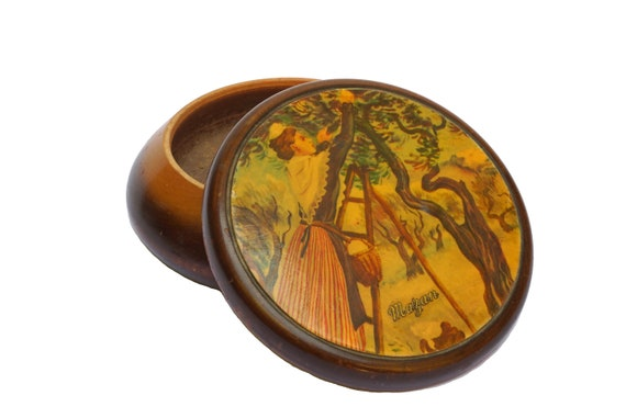 Provence Souvenir Wooden Box with Olive Tree and Arlesienne Lady, French Jewelry Trinket Dish