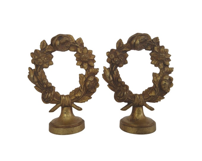 Antique Bronze Curtain Rail Finial Ornaments  Pair with Rose and Flower Garland Wreath, Romantic French Home Decor