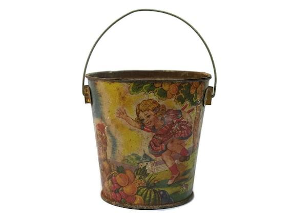 Vintage French Tin Toy Beach Bucket.