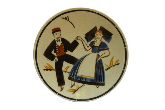 Art Deco Ceramic Plate with Breton Couple by KG Luneville, Souvenir French Faience