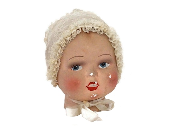 Antique Baby Head Shop Display Mannequin with Lace Bonnet, French Child Hat Stand, Store Model