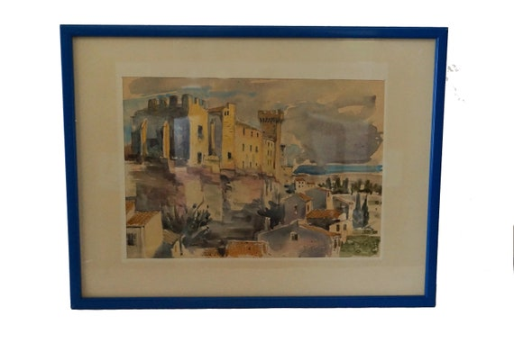 French Chateau and Village Watercolor Painting, Framed and Signed Provencal Art