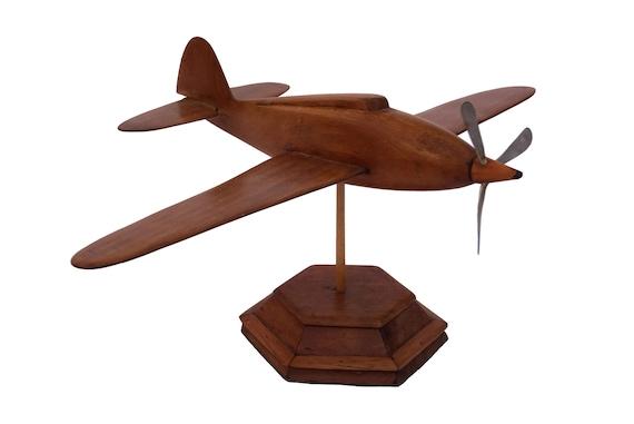 Art Deco Wooden Plane Sculpture, Vintage Desk Model Airplane