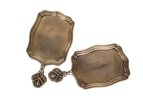 Christofle Silver Menu Holder Pair, Antique French Visitor Card Trays
