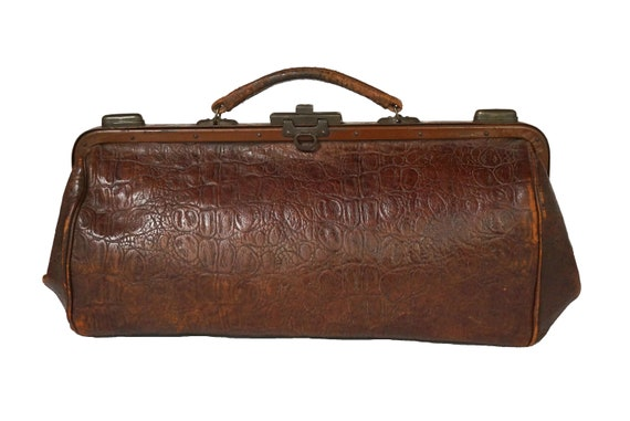 Antique Leather Gladstone Bag with Brass Fittings, French Doctors Case