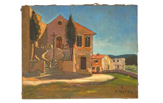 French Country Church Landscape Painting, Original Provencal Signed Art