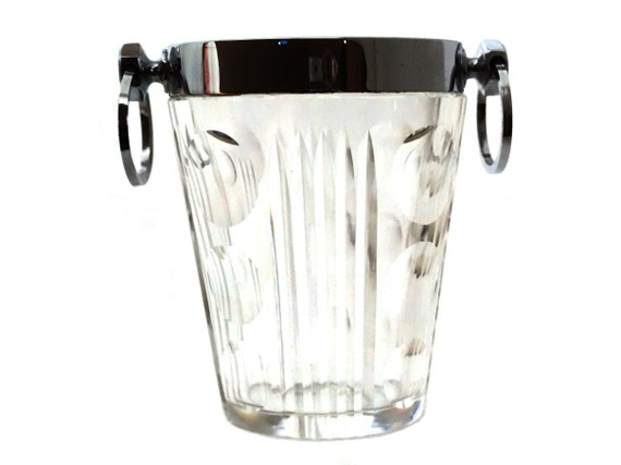 Sevres Crystal Ice Bucket, Vintage French Barware and Whisky Lover Gifts