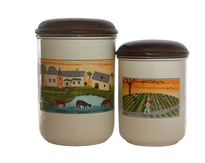 Villeroy and Boch Naif Kitchen Canister Set, Pair of Ceramic and Wood Storage Jars