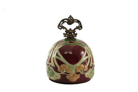 Antique Majolica Oil Lamp Font, Art Nouveau French Ceramic Dome with Cherries