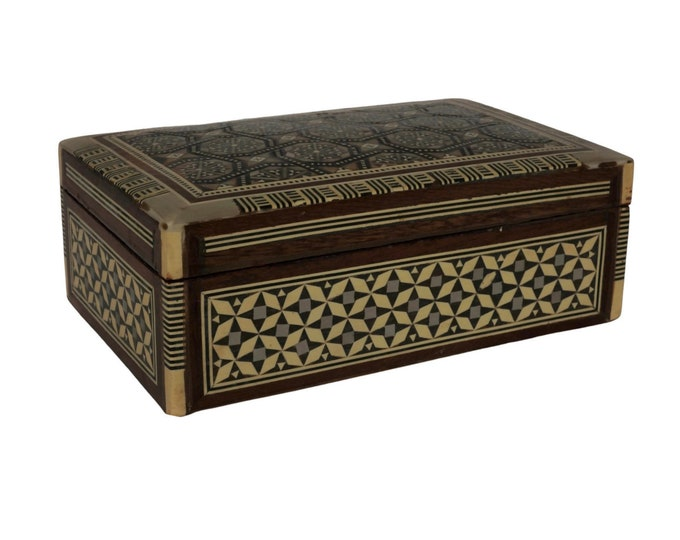 Wooden Khatam Marquetry Mosaic Trinket Box with Mother of Pearl, Vintage Geometric Star Inlaid Wood Jewelry Casket