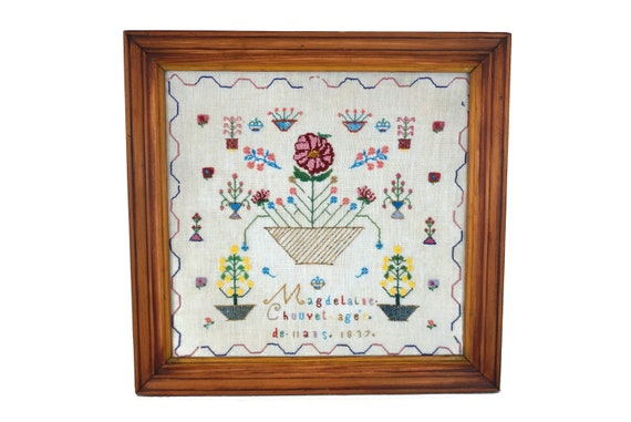 French Antique Beadwork Sampler, 19th Century Needlework and Bead Embroidery