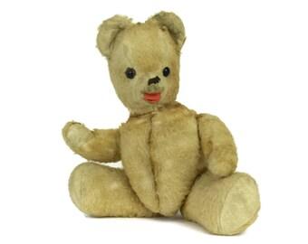 French Vintage Teddy Bear with Molded Celluloid Head. Jointed Plush Bear. 1940s Teddy Bear.