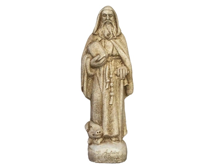 Saint Anthony The Great Statue with Pig Figurine, Vintage Christian Art and Home Decor