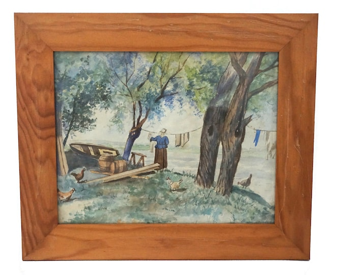 French Hens and Laundry Woman Painting, Rustic Country Farm Art