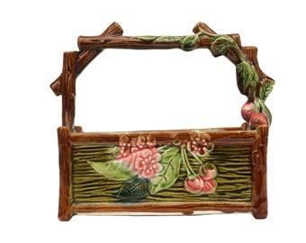 Antique French Majolica Flower Basket Vase, Ceramic Trompe L'Oeil Planter