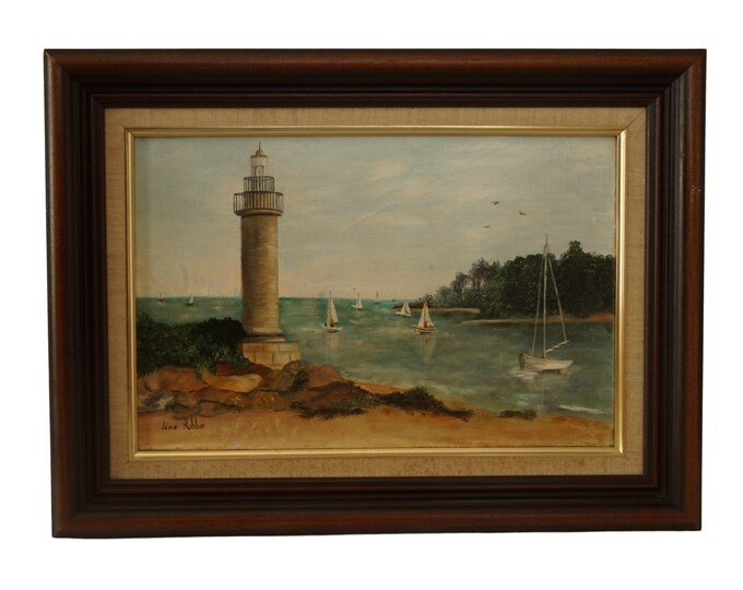 French Lighthouse, Sail Boat and Seascape Oil Painting, Atlantic Coastal Art and Home Decor