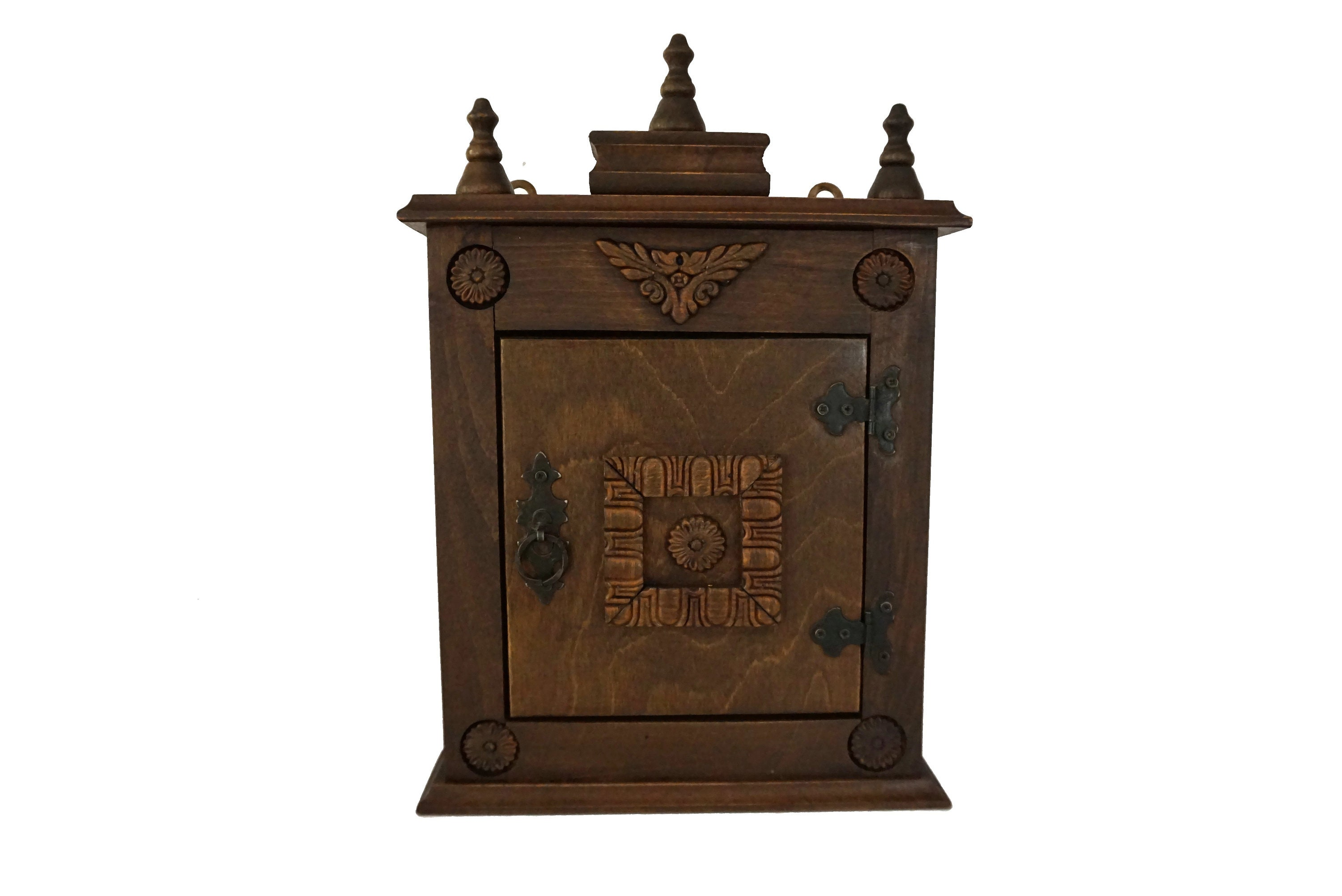 French Wooden Key Holder Cabinet with Hooks, Entryway and ...