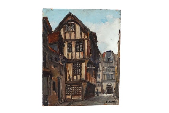 French Street Scene Oil Painting, Rouen City Architecture Art
