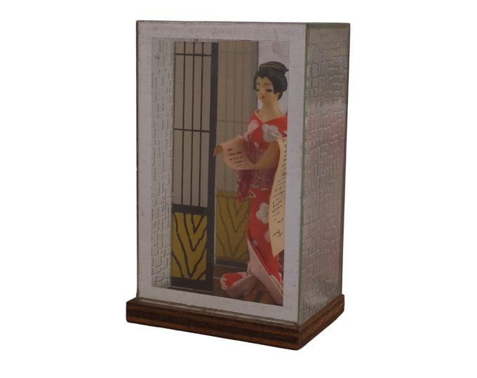 Japanese Geisha Doll in Diorama, Folk Art Figurine in Shadow Box, Japan Souvenir