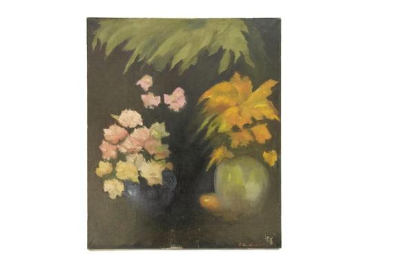 Flower Still Life Oil Painting by Pierre Chauvet, Original Art French Floral Arrangement