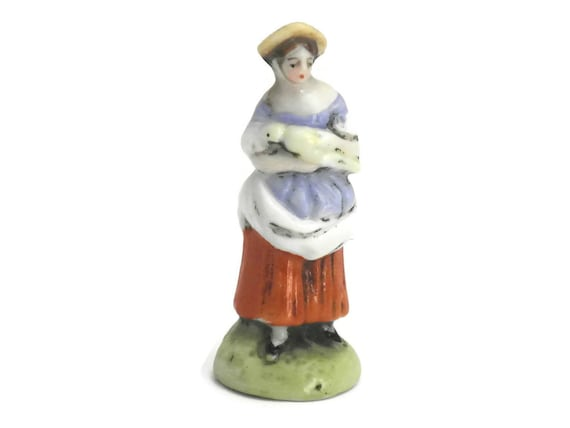 Scheibe Alsbach German Porcelain Figurine. Farm Lady with Bird Miniature Porcelain.
