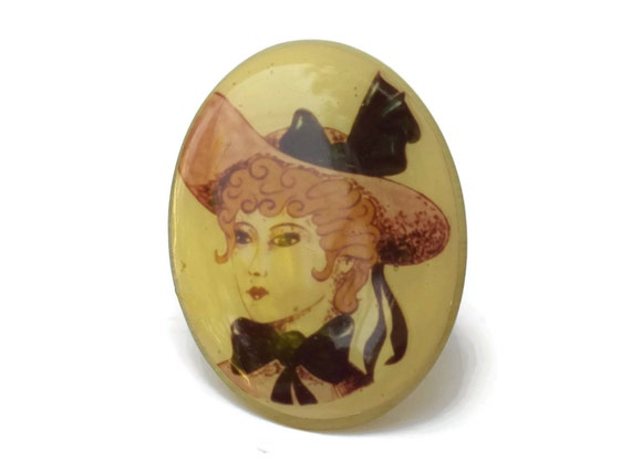 French Vintage Woman Portrait Brooch, 1970s Resin Jewelry, Large Oval Lapel Pin