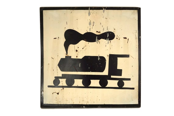 Vintage Train Crossing Sign, French Traffic Warning Signage, Industrial Home Wall Decor