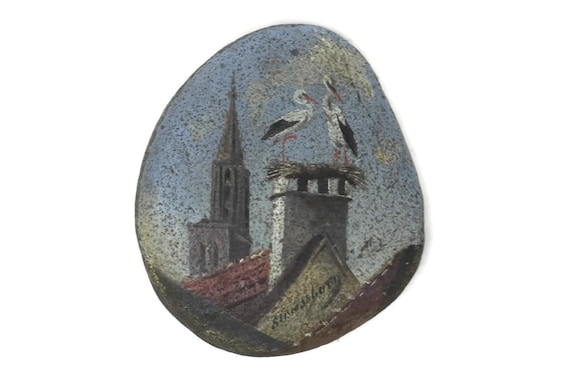 Antique Hand Painted Pebble with Storks, Strasbourg Souvenir, Miniature Stone Painting