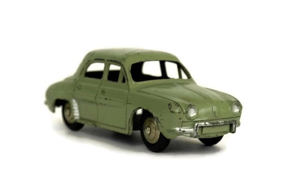 Vintage French Renault Dauphine 24E Dinky Toy Car, Collectible Miniature model