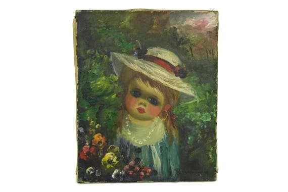 Vintage Big Eye Girl Portrait Painting, Original Art on Canvas by Marini, Kids Room Decor