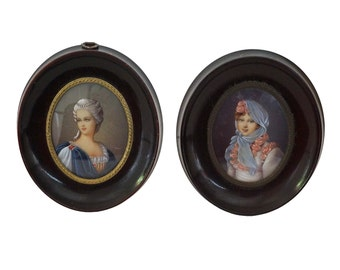 French Miniature Woman Portraits, Pair of Oval Framed Lady Face Paintings