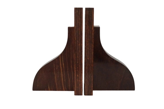 Geometric Art Deco Rosewood Bookends
