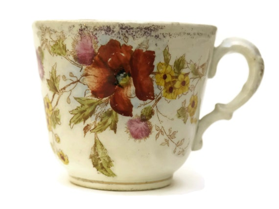 Antique German Pottery Mustache Cup. Flower Transferware Cup. Hipster Mustache Gift.