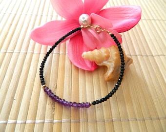 Stone Amethyst, spinel, gold filled bracelet