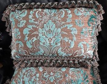 Fortuny Pillow Pair, RARE Silk Velvet
