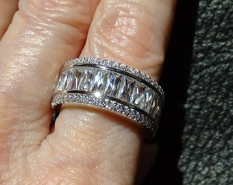 Sterling Band Ring, Cubic Zirconia, Platinum Overlay