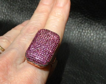 Pink Sapphire Ring, Rose Gold over Sterling Silver